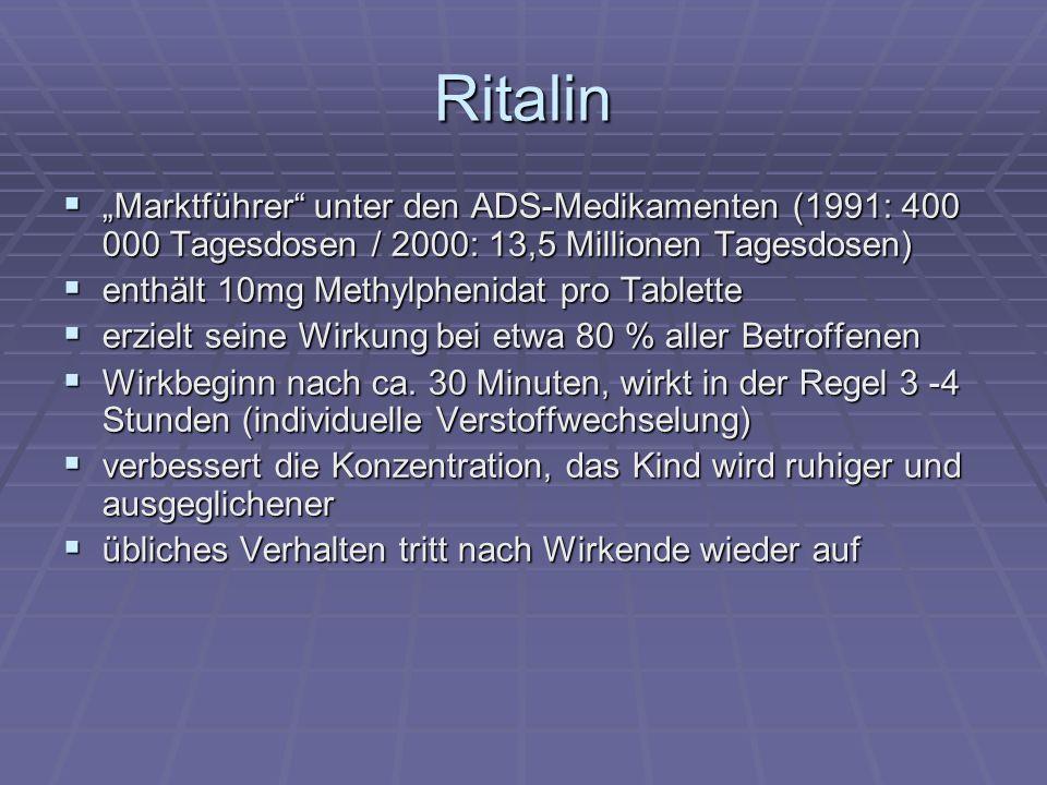 """Ritalin """"Marktführer unter den ADS-Medikamenten (1991: 400 000 Tagesdosen / 2000: 13,5 Millionen Tagesdosen)"""