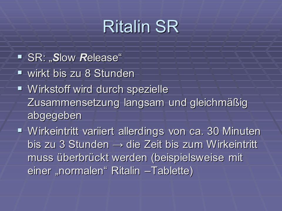 """Ritalin SR SR: """"Slow Release wirkt bis zu 8 Stunden"""