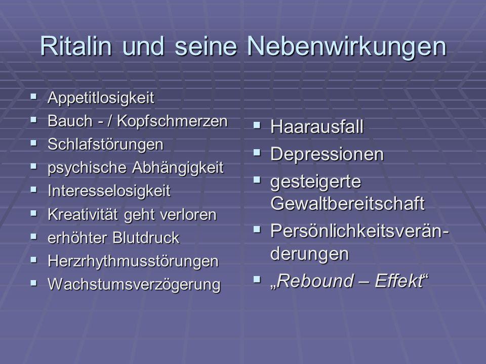 Ritalin und seine Nebenwirkungen