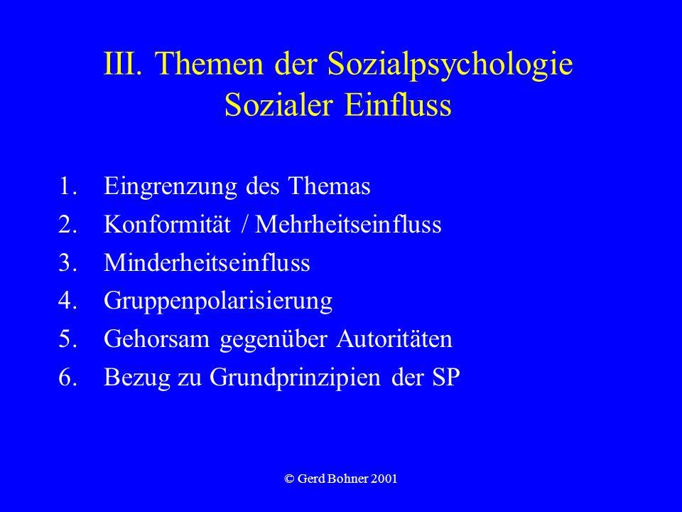 III. Themen der Sozialpsychologie Sozialer Einfluss