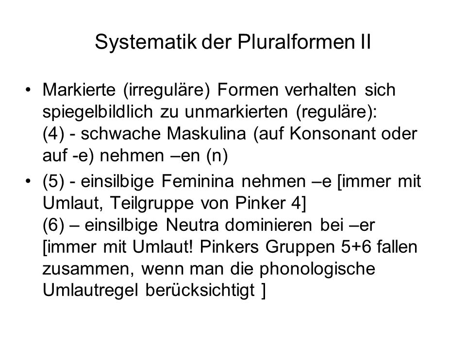 Systematik der Pluralformen II