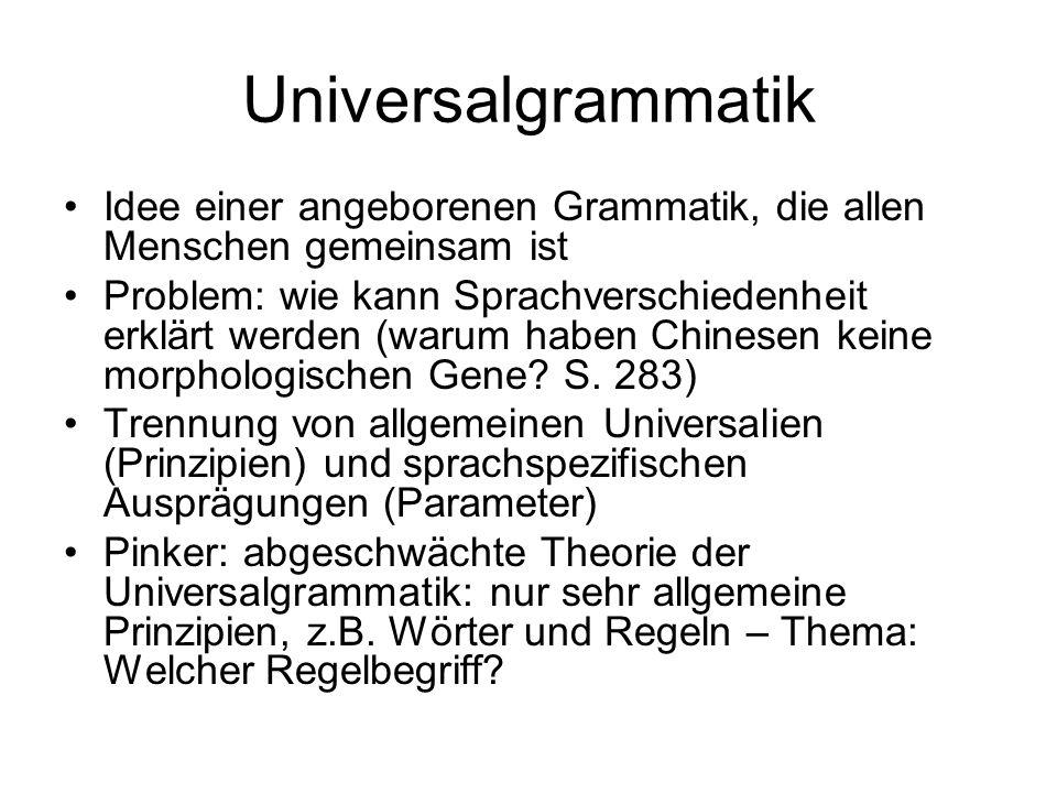 Universalgrammatik Idee einer angeborenen Grammatik, die allen Menschen gemeinsam ist.
