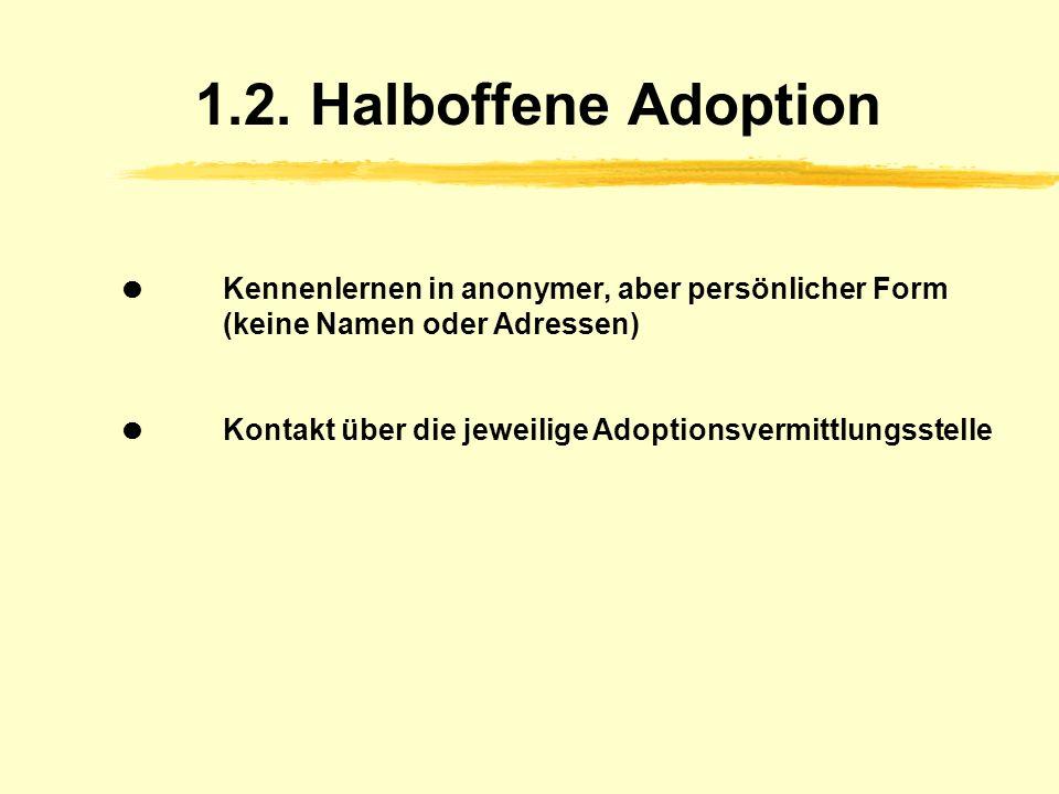 1.2. Halboffene Adoption  Kennenlernen in anonymer, aber persönlicher Form (keine Namen oder Adressen)