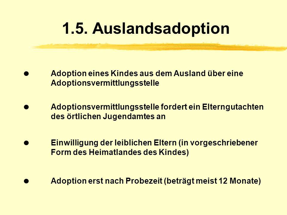 1.5. Auslandsadoption  Adoption eines Kindes aus dem Ausland über eine Adoptionsvermittlungsstelle.