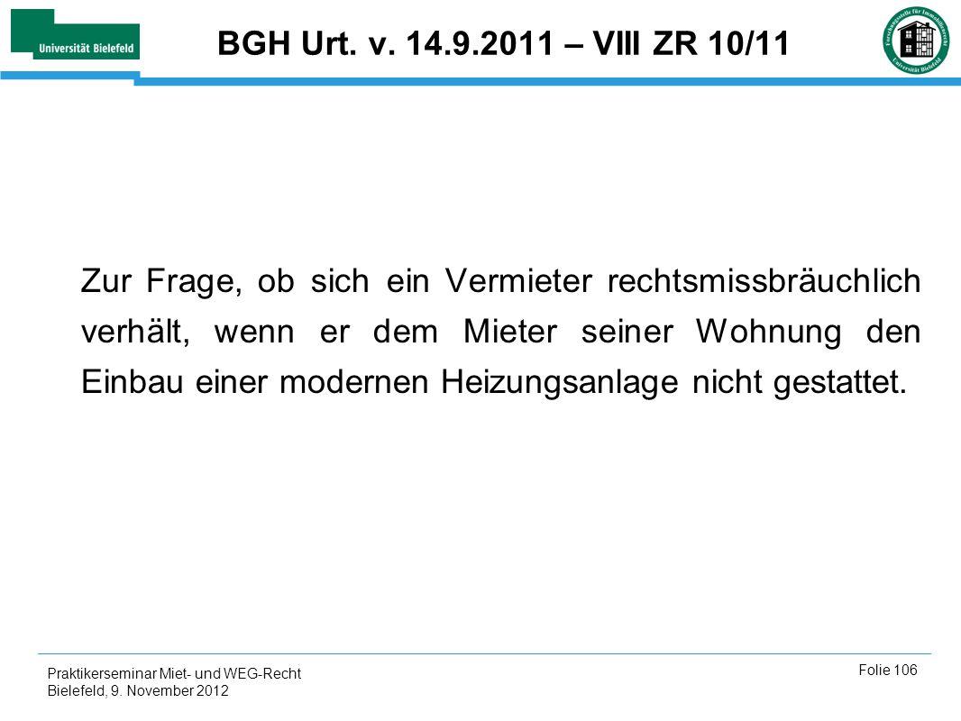 BGH Urt. v. 14.9.2011 – VIII ZR 10/11