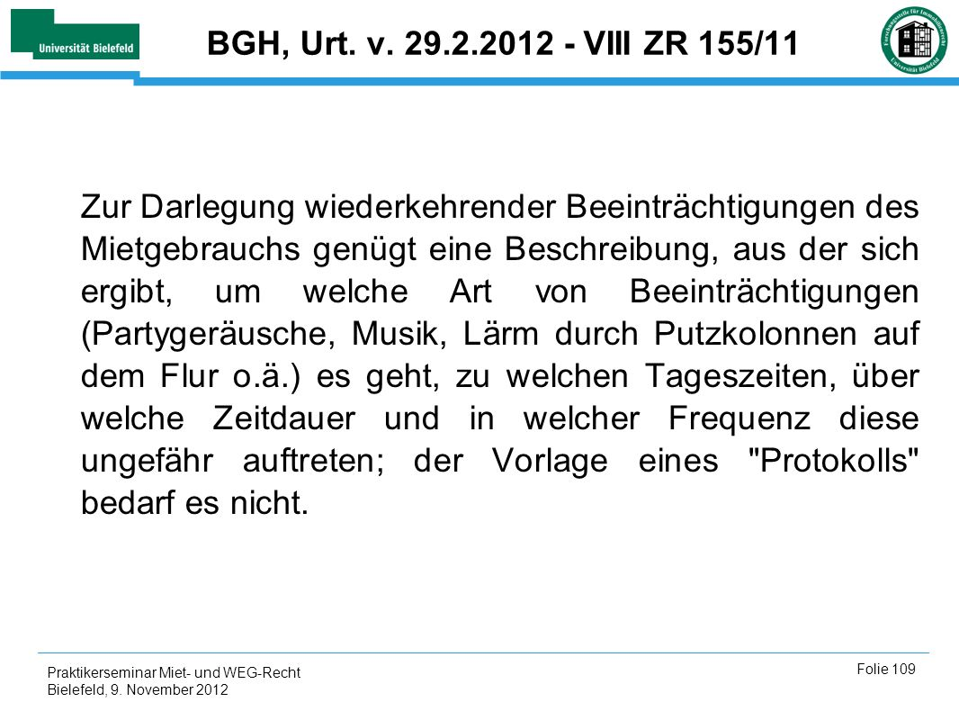 BGH, Urt. v. 29.2.2012 - VIII ZR 155/11