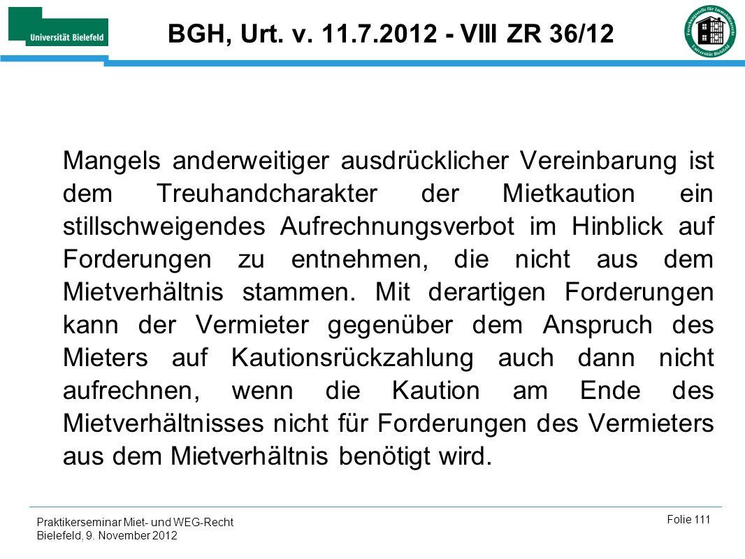 BGH, Urt. v. 11.7.2012 - VIII ZR 36/12