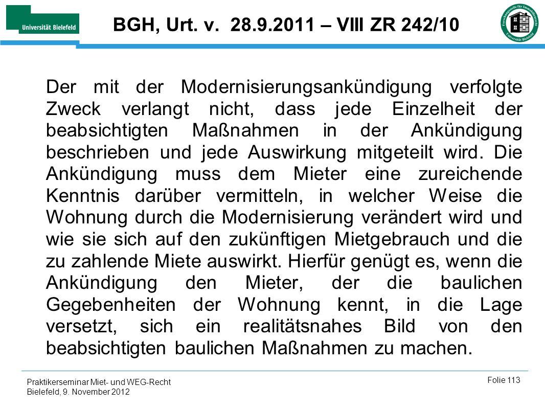 BGH, Urt. v. 28.9.2011 – VIII ZR 242/10