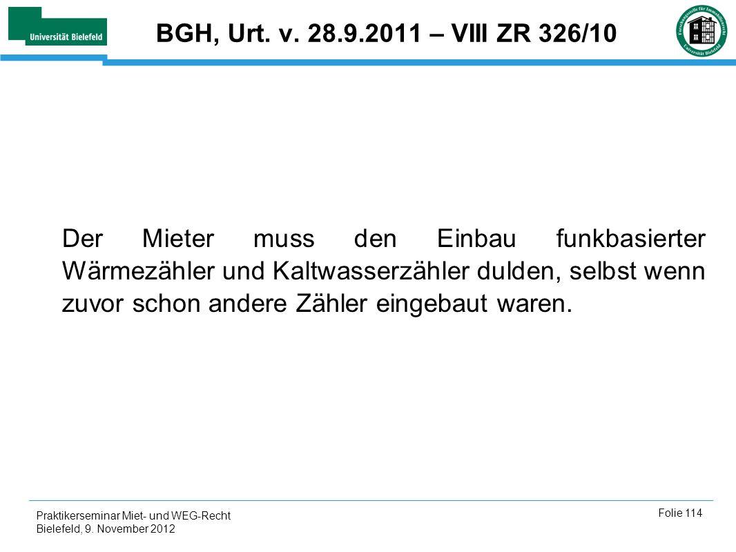 BGH, Urt. v. 28.9.2011 – VIII ZR 326/10