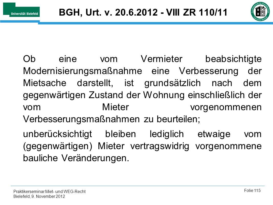 BGH, Urt. v. 20.6.2012 - VIII ZR 110/11