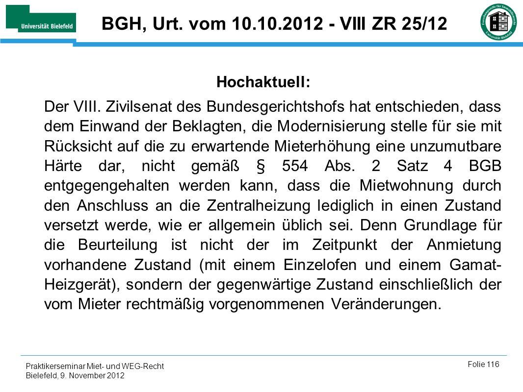 BGH, Urt. vom 10.10.2012 - VIII ZR 25/12 Hochaktuell: