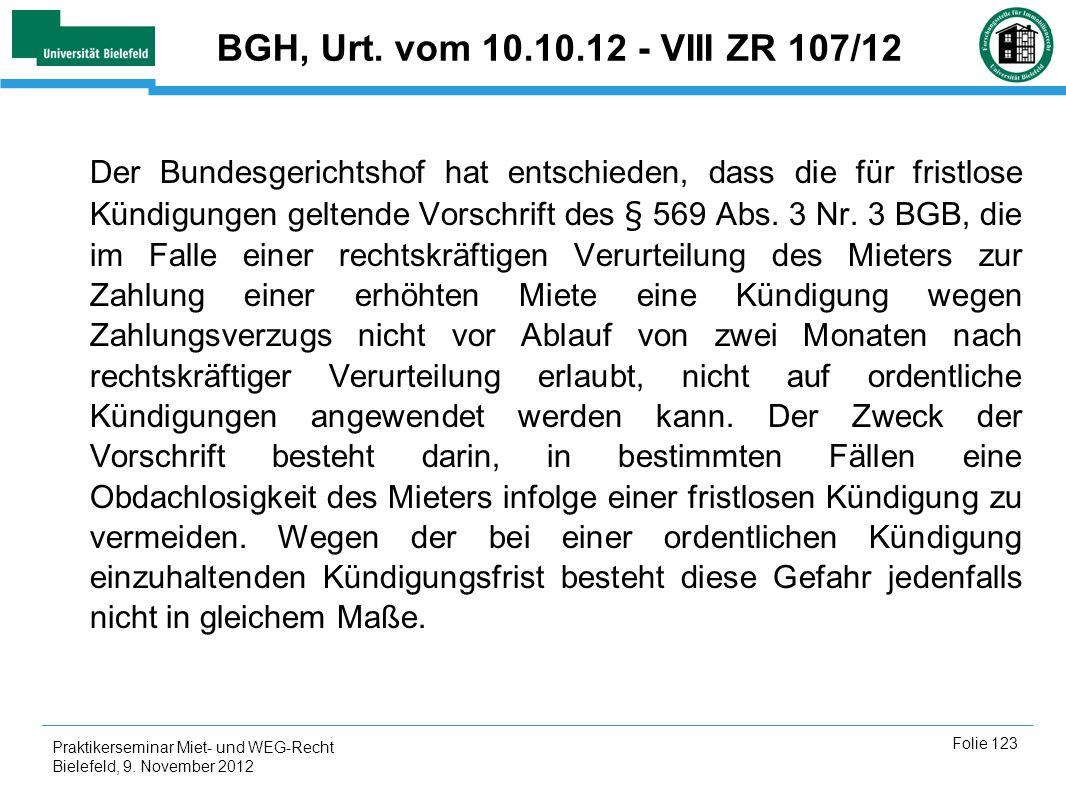 BGH, Urt. vom 10.10.12 - VIII ZR 107/12