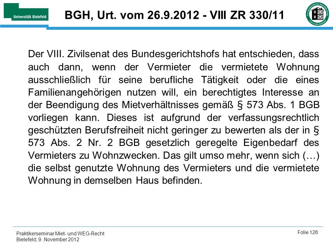 BGH, Urt. vom 26.9.2012 - VIII ZR 330/11
