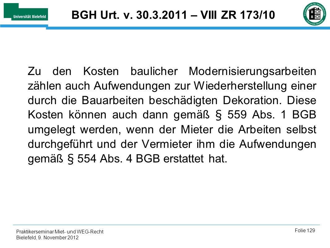 BGH Urt. v. 30.3.2011 – VIII ZR 173/10