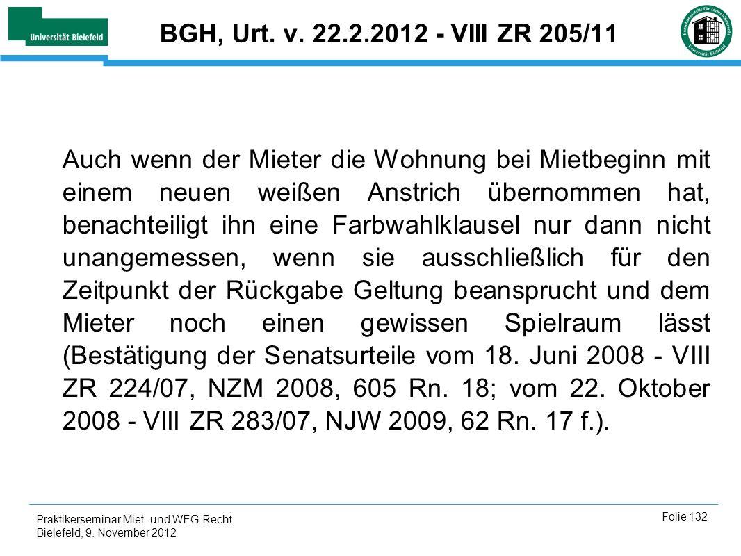 BGH, Urt. v. 22.2.2012 - VIII ZR 205/11