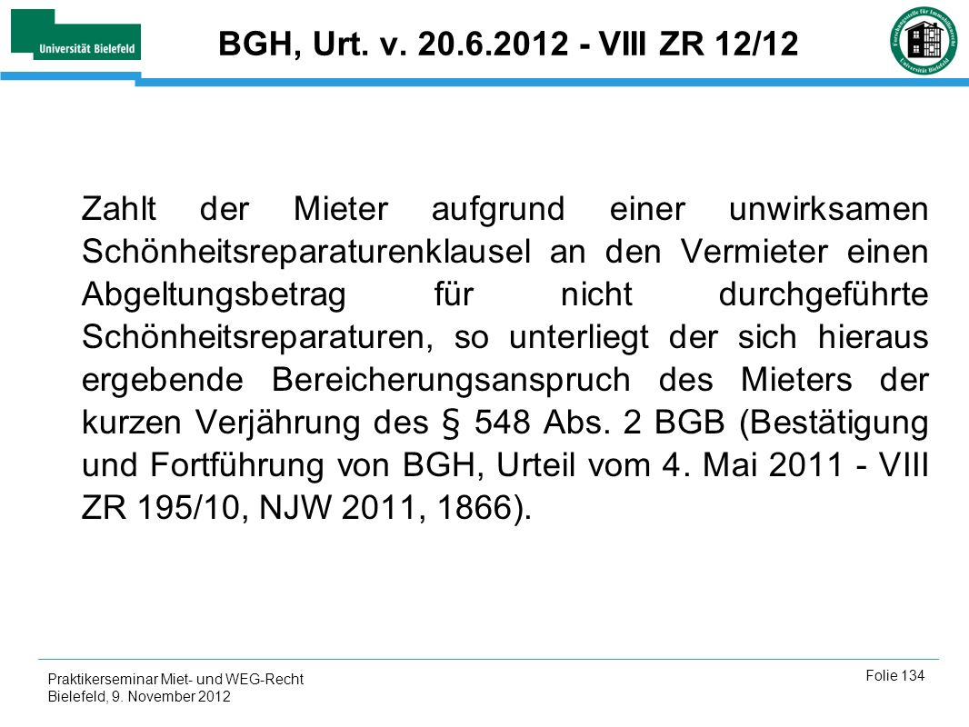 BGH, Urt. v. 20.6.2012 - VIII ZR 12/12