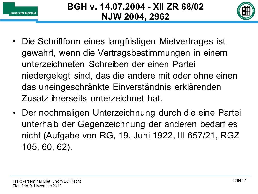 BGH v. 14.07.2004 - XII ZR 68/02 NJW 2004, 2962
