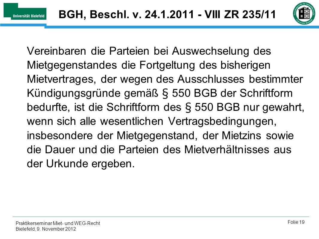 BGH, Beschl. v. 24.1.2011 - VIII ZR 235/11