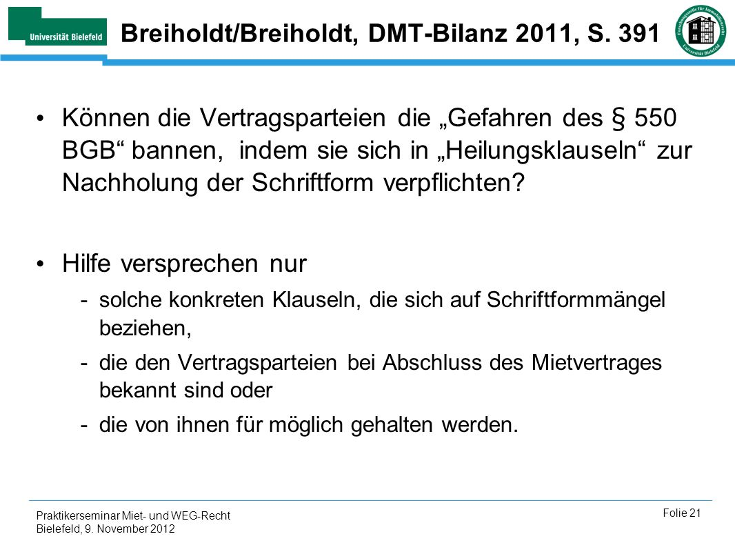 Breiholdt/Breiholdt, DMT-Bilanz 2011, S. 391