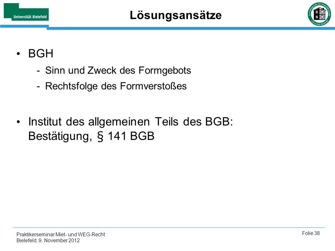 Institut des allgemeinen Teils des BGB: Bestätigung, § 141 BGB