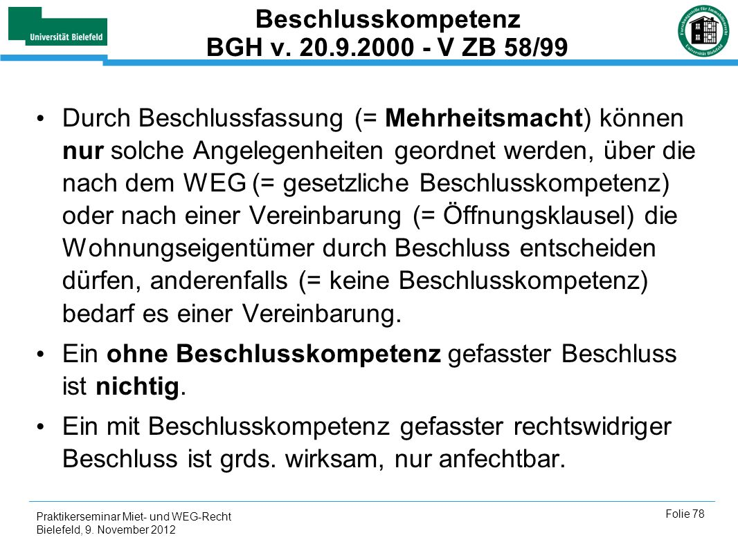 Beschlusskompetenz BGH v. 20.9.2000 - V ZB 58/99