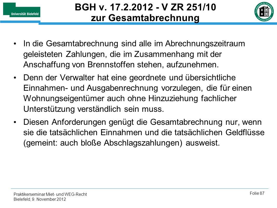 BGH v. 17.2.2012 - V ZR 251/10 zur Gesamtabrechnung