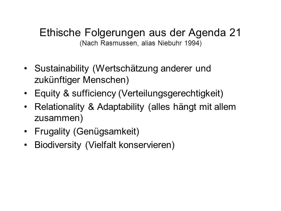 Ethische Folgerungen aus der Agenda 21 (Nach Rasmussen, alias Niebuhr 1994)