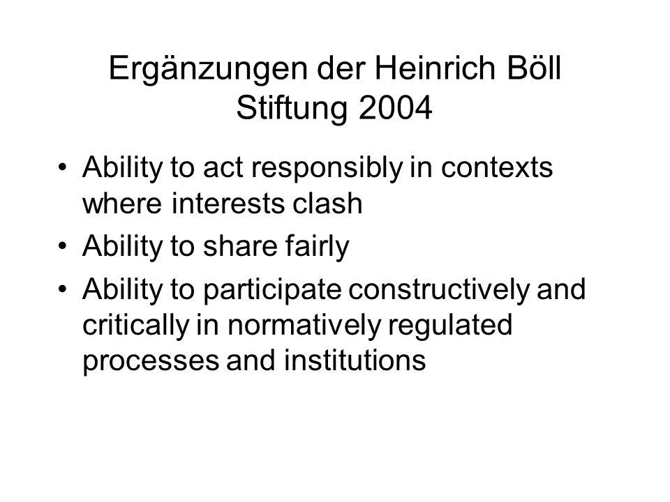 Ergänzungen der Heinrich Böll Stiftung 2004