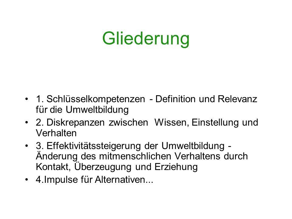 Gliederung 1. Schlüsselkompetenzen - Definition und Relevanz für die Umweltbildung. 2. Diskrepanzen zwischen Wissen, Einstellung und Verhalten.