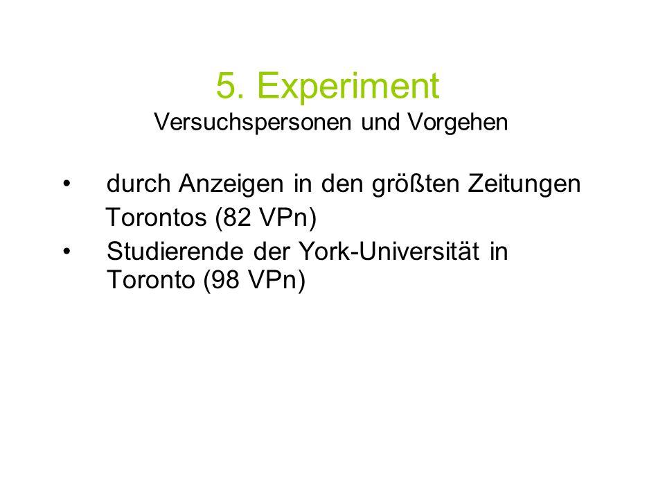 5. Experiment Versuchspersonen und Vorgehen