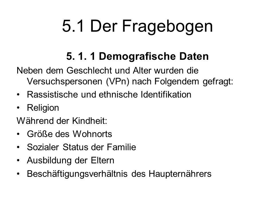 5.1 Der Fragebogen 5. 1. 1 Demografische Daten