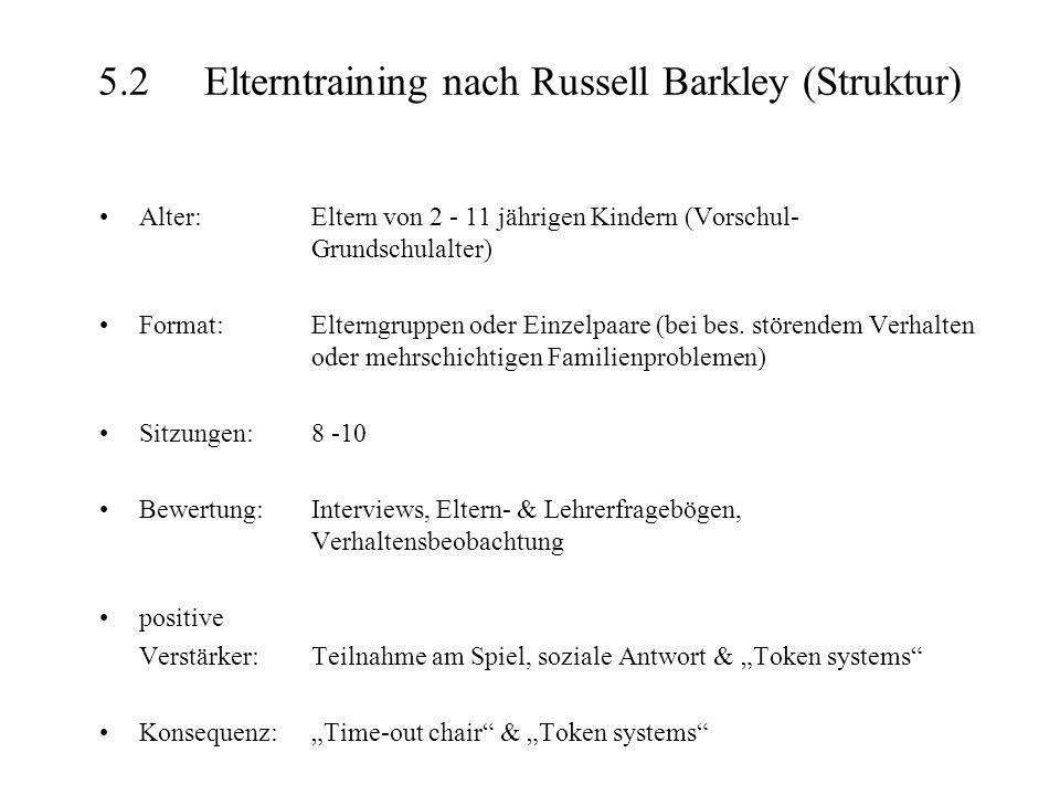 5.2 Elterntraining nach Russell Barkley (Struktur)