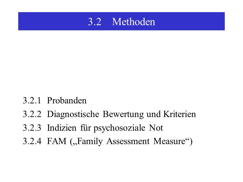 3.2 Methoden 3.2.1 Probanden. 3.2.2 Diagnostische Bewertung und Kriterien. 3.2.3 Indizien für psychosoziale Not.