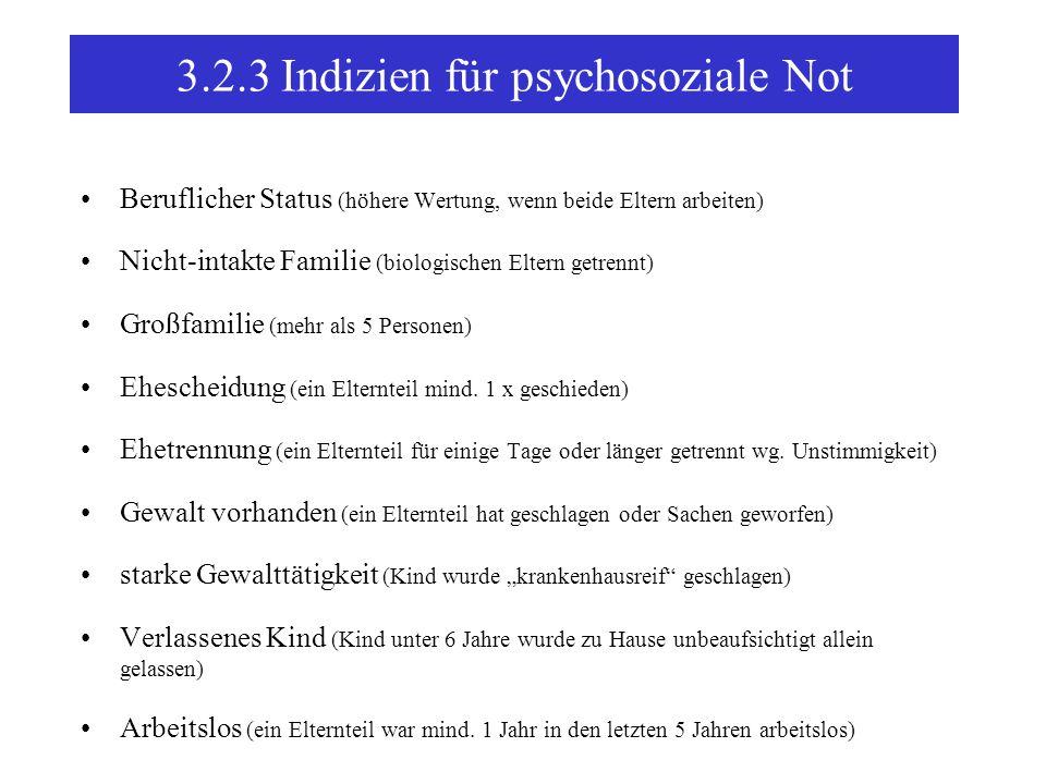 3.2.3 Indizien für psychosoziale Not