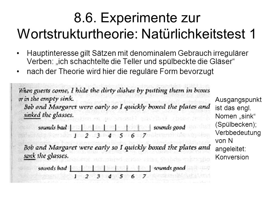 8.6. Experimente zur Wortstrukturtheorie: Natürlichkeitstest 1