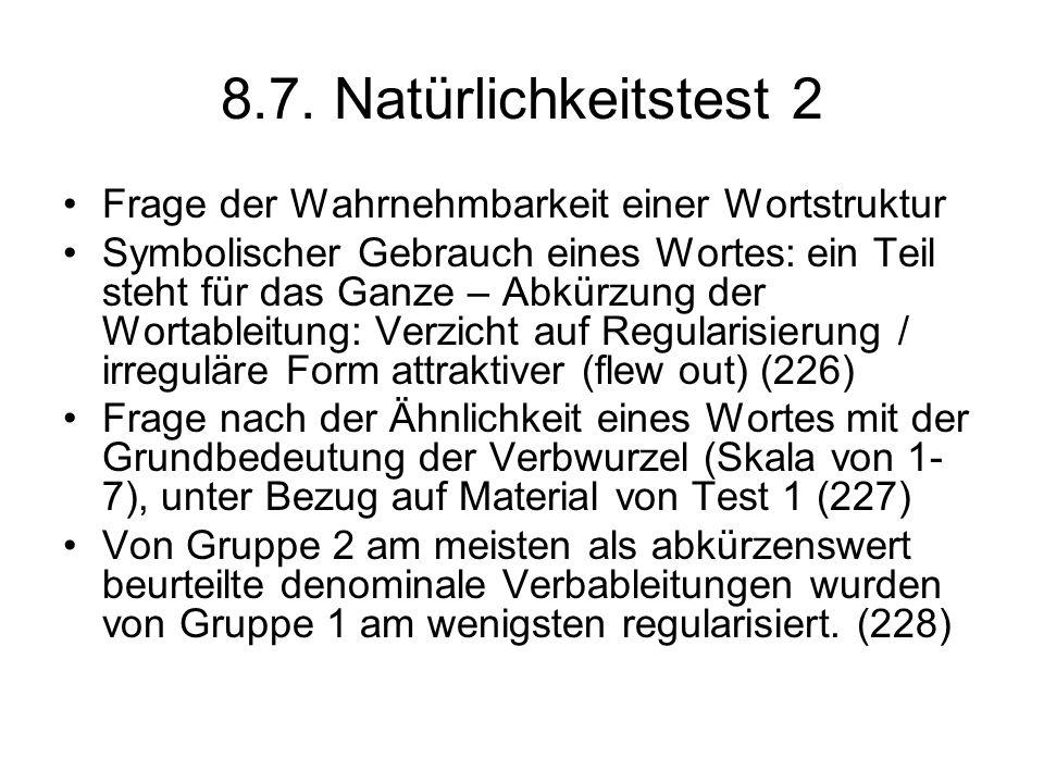 8.7. Natürlichkeitstest 2 Frage der Wahrnehmbarkeit einer Wortstruktur