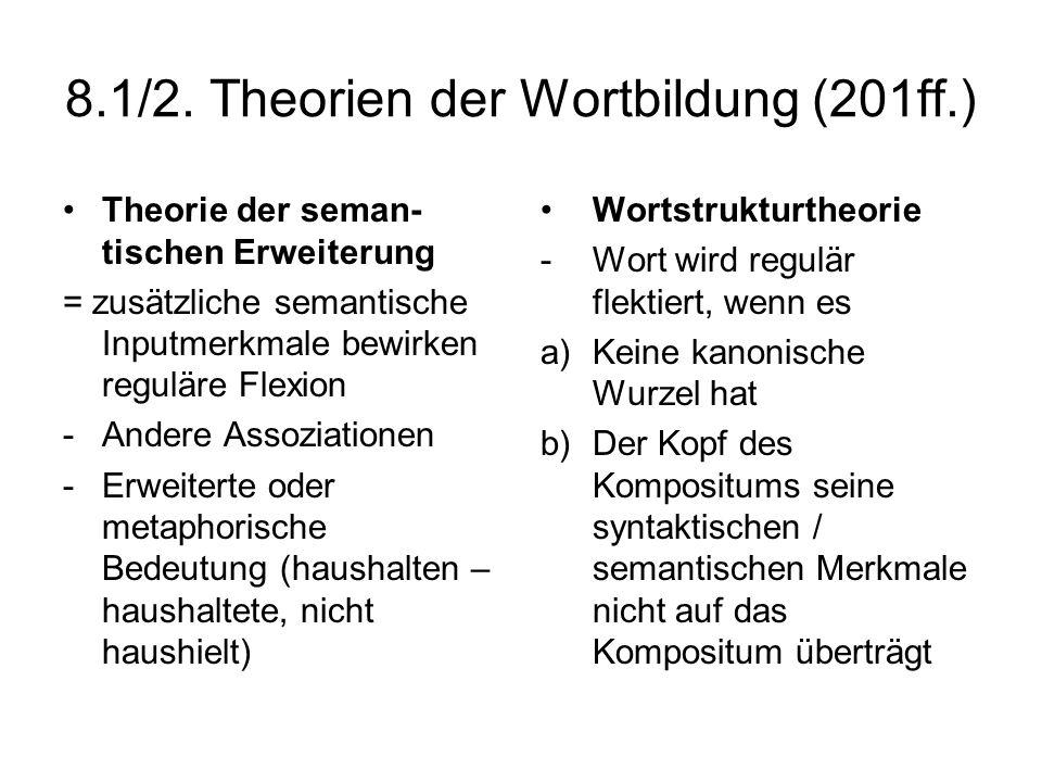 8.1/2. Theorien der Wortbildung (201ff.)