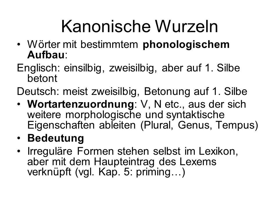 Kanonische Wurzeln Wörter mit bestimmtem phonologischem Aufbau: