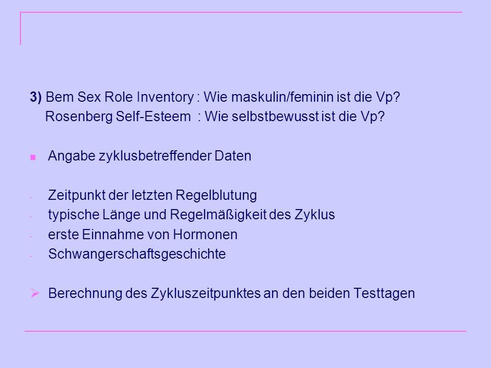 3) Bem Sex Role Inventory : Wie maskulin/feminin ist die Vp