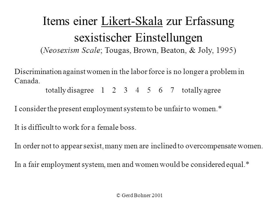 Items einer Likert-Skala zur Erfassung sexistischer Einstellungen