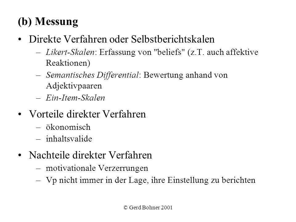(b) Messung Direkte Verfahren oder Selbstberichtskalen