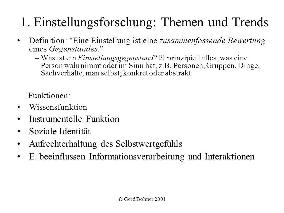 1. Einstellungsforschung: Themen und Trends