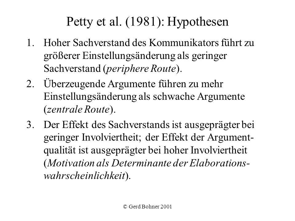Petty et al. (1981): Hypothesen