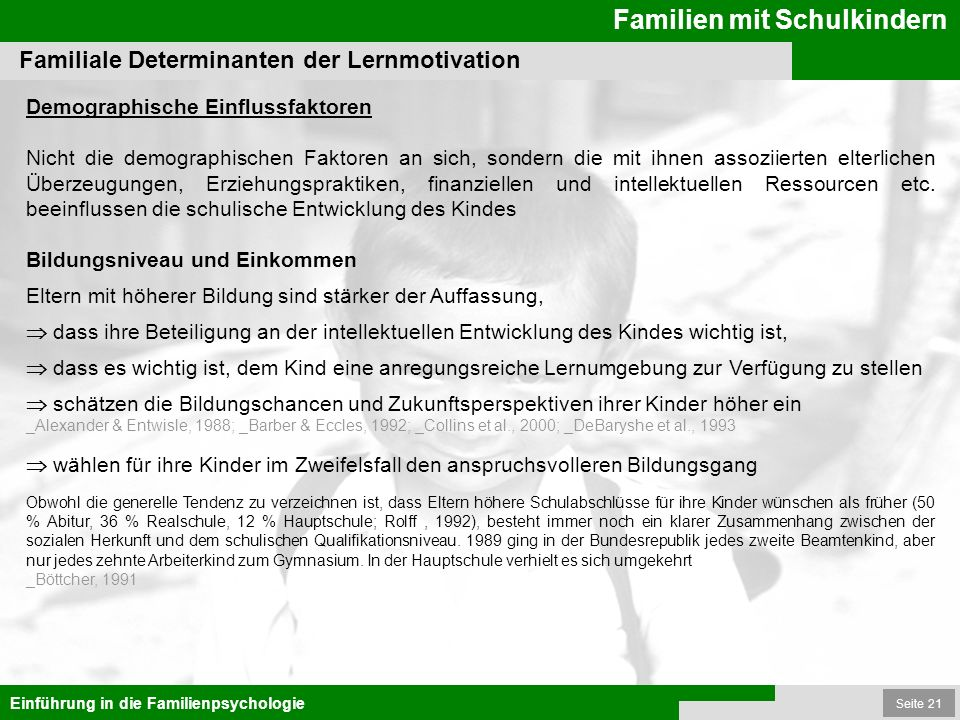 Familiale Determinanten der Lernmotivation