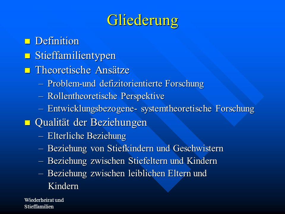 Gliederung Definition Stieffamilientypen Theoretische Ansätze
