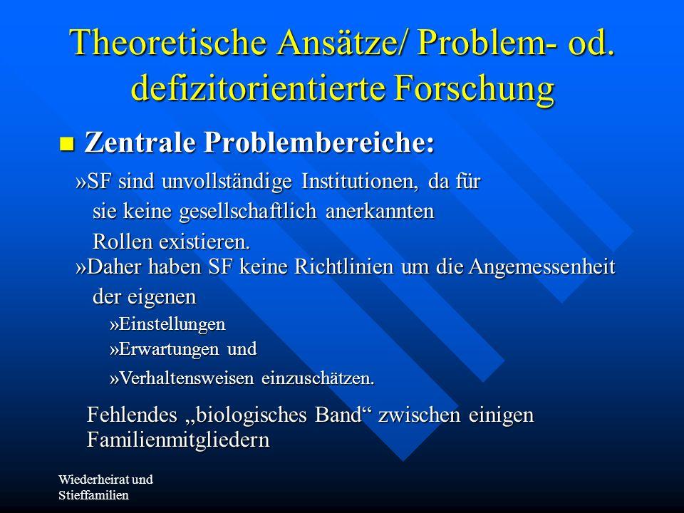 Theoretische Ansätze/ Problem- od. defizitorientierte Forschung