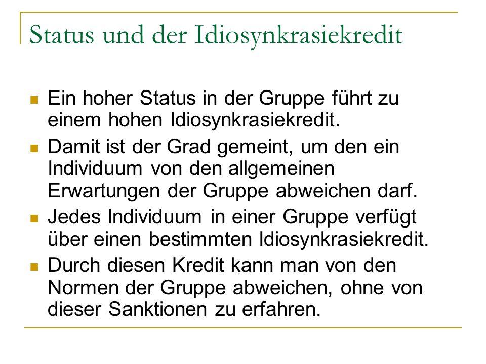 Status und der Idiosynkrasiekredit