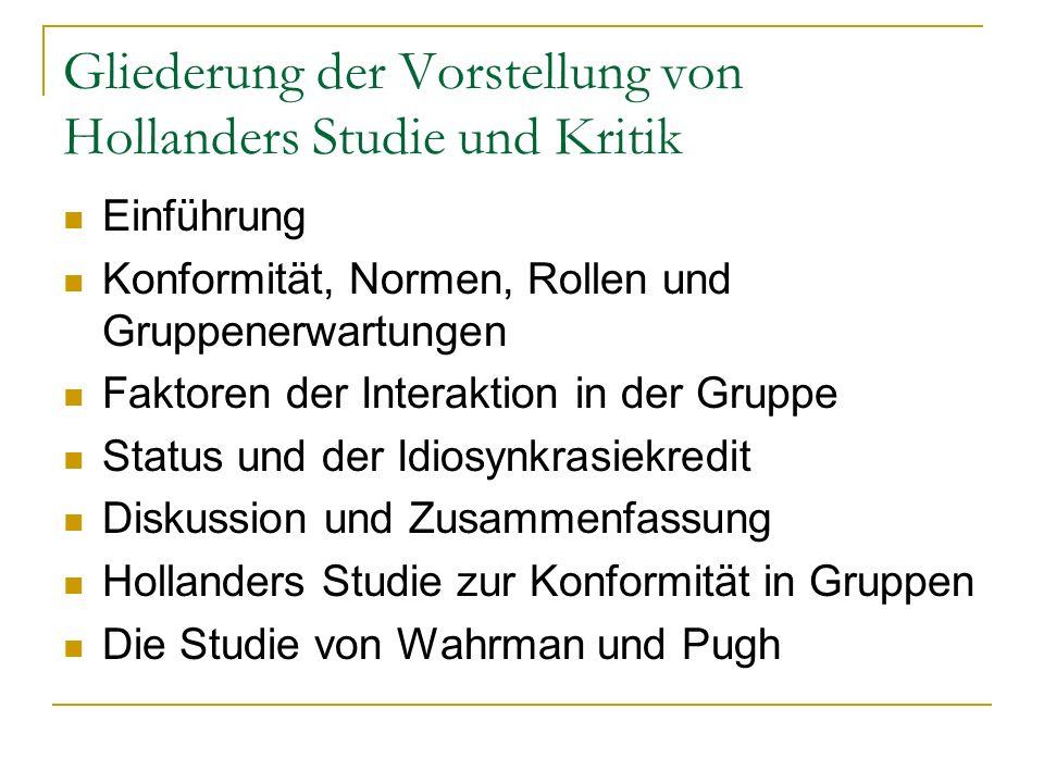 Gliederung der Vorstellung von Hollanders Studie und Kritik