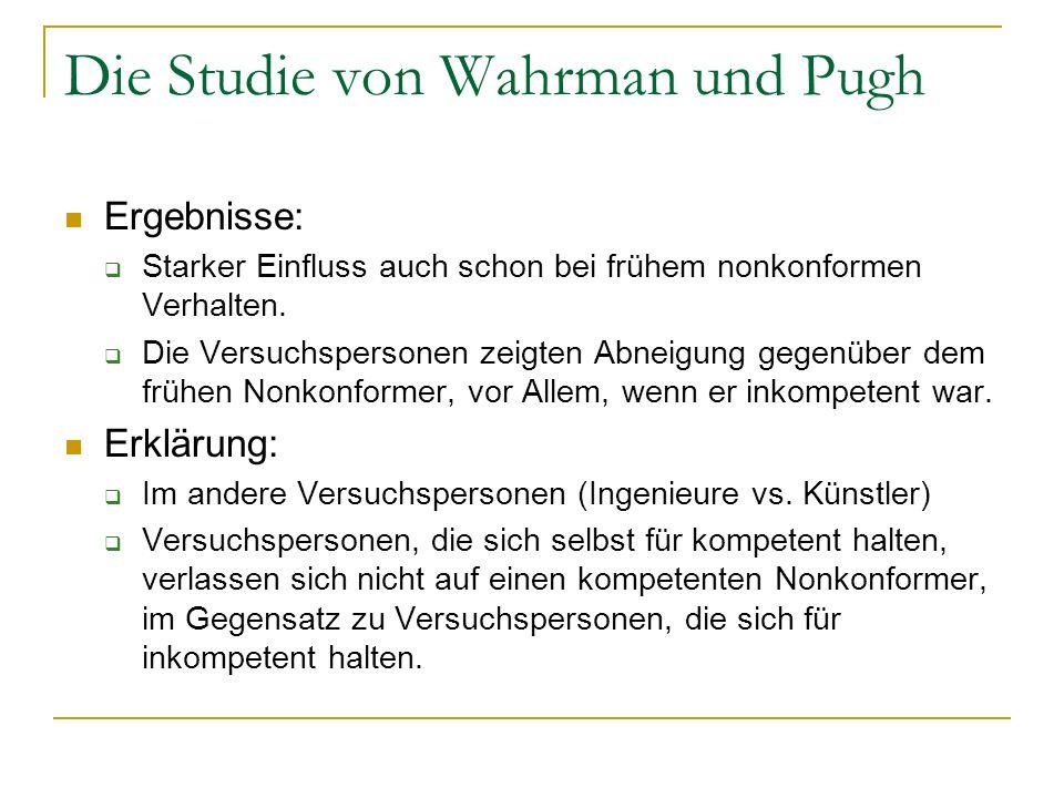 Die Studie von Wahrman und Pugh