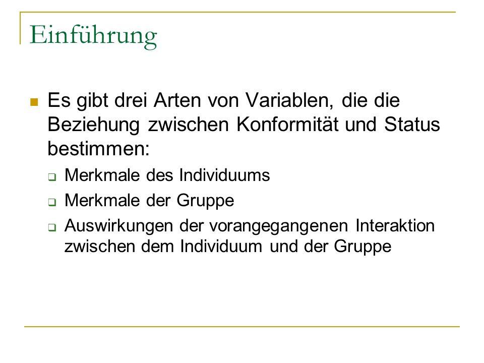 Einführung Es gibt drei Arten von Variablen, die die Beziehung zwischen Konformität und Status bestimmen: